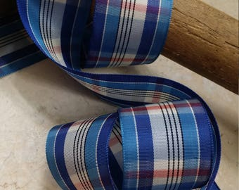 "1.5"" Vintage Plaid Taffeta Ribbon Woven Edge Rayon  Blue Palette Muted red and off white bows, sash, reenactment"