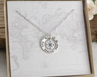 Compass Necklace - Oh the places you'll go -  Graduation gift - Travel - Sterling Silver Compass washer necklace - oh the places you will go