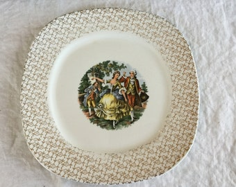 Mid Century T S & T Conversations Gold Filigree Colonial Scenes Square Dinner Plate