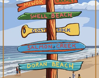 Bodega Bay, California - Destination Signpost (Art Prints available in multiple sizes)
