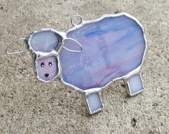 Pink and Purple Sheep Stained Glass Home Decor Suncatcher