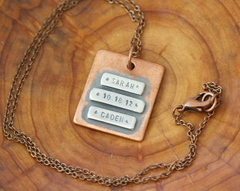 Personalized Copper Wide Name Plate Necklace  (E0482)