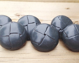 """Vintage 1 1/8"""" Large Grey Leather Woven Buttons Reclaimed Retro Leather Buttons"""