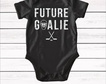 Future Goalie bodysuit. Hockey Goalie Baby Outfit. Baby Hockey Outfit. Newborn Baby Outfit. Hockey Player Outfit. I love hockey baby shirt.