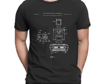 Super Nintendo Console Remote and Cartridge Patent T Shirt, SNES, Geek Gift, Gamer Shirt, Nintendo Shirt P295