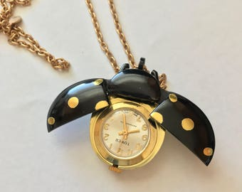 Vintage Black Ladybug Cicada Watch Pendant Necklace