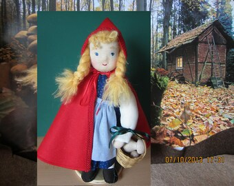 """Fairytale doll, Gretchen Red Riding Hood doll,12"""",, OOAK, Waldorf inspired, collectible art doll, collectors's doll"""