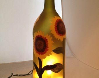 Hand Painted, Frosted Wine Bottle with Sunflowers