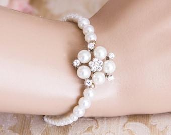 Wedding Jewelry Rhinestone Pearl Bridal Bracelet Bridesmaid Bracelet Swarovsky Pearl Wedding Bracelet