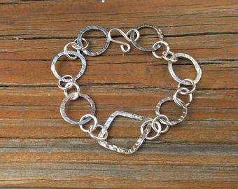 Sterling Silver Circles and Diamond Bracelet, triangle, everyday bracelet, geometric bracelet
