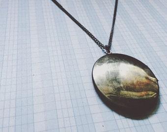 long locket necklace | large locket | shiny brass oval - vintage locket