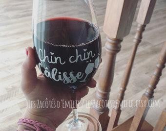 "Decal ""Chin chin câlisse"" to stick on a wine cup, Mason jar, glass, etc."