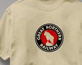 Great Northern Railway T Shirt Logo Railroad Train Tee Shirt Mens Womens Ladies Youth Kids