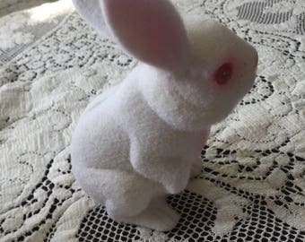 Vintage Flocked Bunny Bank