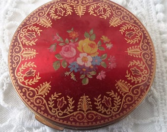 Stratton compact, powder compact 1950s, red and gold floral compact, vintage mirrored compact.