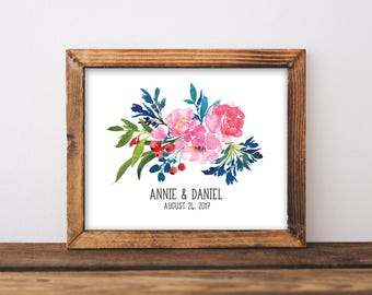 Wedding Date Sign - Wedding Date Print - Family Name Sign - Personalized Couple Print - Personalized Wedding Gift - Digital Download - 8x10