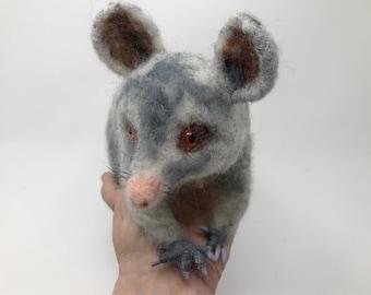 Brushtail Possum OOAK needle felted Australian animal posable soft sculpture posable wire armature unique gift