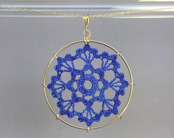 Scallops doily necklace, blue hand-dyed silk thread, 14K gold-filled