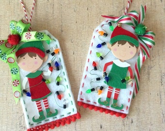 Christmas Elf Ornaments  / Felt Handmade Elf Whimsical Ornaments / set of 2 / Red and Green Elf Ornaments / Handmade and Design in Felt