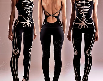 Halloween Costume - Open Back Formfitting Catsuit - Cotton Jersey Playsuit Sexy Skeleton Jumpsuit  Halloween Party Outfit Scary Costume