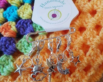 Stitch markers,  fairy tale stitch markers, fairy progress keepers, knitting stitch markers, crochet stitch markers, sock knitting marker