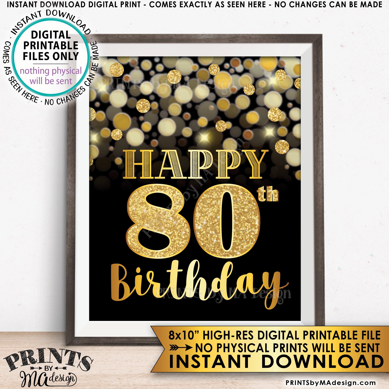 Printable 80th Birthday Cards Barca Fontanacountryinn Com
