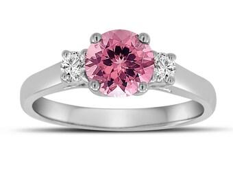 Pink Tourmaline And Diamonds Three Stone Engagement Ring 14K White Gold 1.07 Carat Birthstone