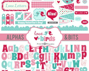 70% OFF SALE! - Love Birds Alphas & Bits - Digital Clip Art - turquoise pink red birds love clouds stripes dots