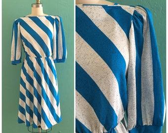 vintage 70's 80's blue gray striped dress