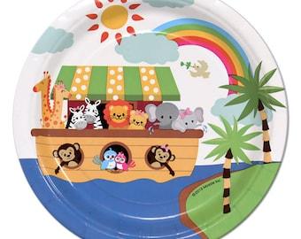 Noah\u0027s Ark Party Paper Plates/ Jungle Animals Dessert Plates/ Kids Birthday Baby Shower  sc 1 st  Etsy & Jungle party plates | Etsy