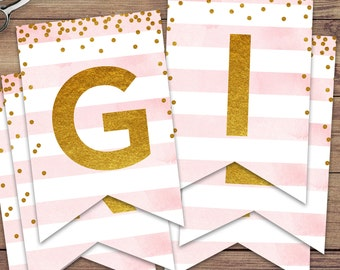 "Pink and Gold Glitter ""It's a Girl"" Baby Shower Banner, Instant Download Print Your Own"