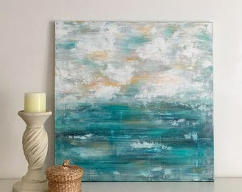 Original Abstract Coastal Painting on an 24x24x1 Gallery Wrapped canvas.