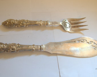 Silver plated engraved fish servers knife and fork