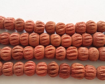 50pcs Carved Wood Beads - Red/Brown Spacers 8mm - UNFINW-009