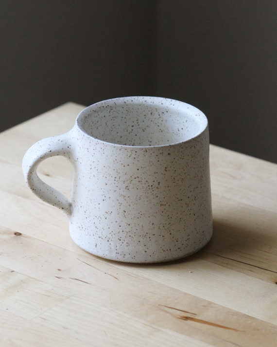 14oz White mug, ceramic mug, coffee mug, coffee mug, tea mug, handmade mug,