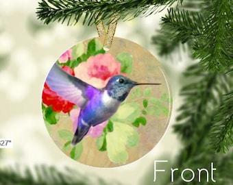 Purple Hummingbird in flight ornament
