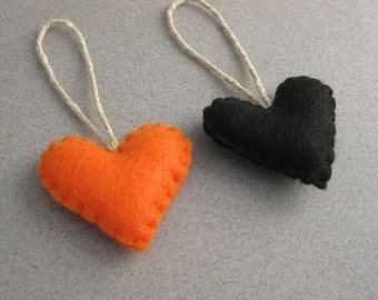 Spooky Halloween Heart Ornaments Orange and Black Set of 2 Recycled Felt set of 2