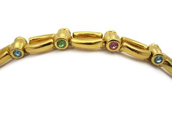 Rhinestone Bracelet - Gold Tone Links MFA Museum of Fine Arts Costume Jewelry