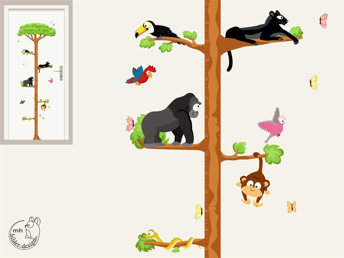 Wall decal growth chart jungle tarsier nursery measuring zoom geenschuldenfo Choice Image