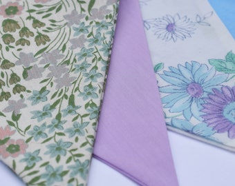Bunting flags 3M vintage floral fabrics in soft, cool colours