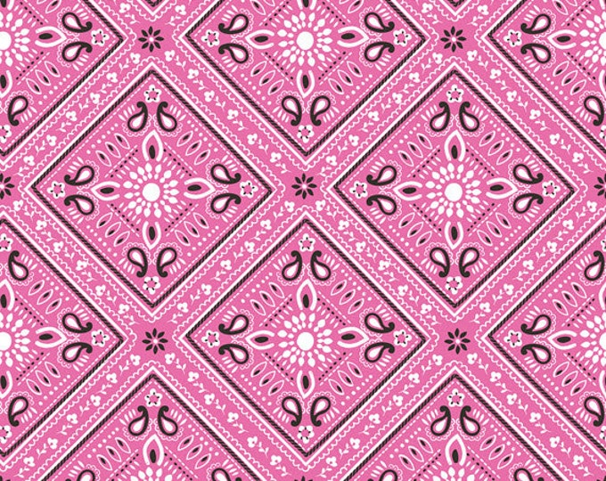 One Yard Luckie - Bandana in Pink - Cotton Quilt Fabric - by Maude Asbury for Blend Fabrics - 101.115.07.3 (W3465)
