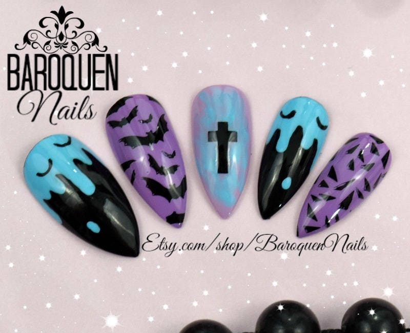Pastel Goth Drippy Bat Press On Nails | Kawaii Grunge Nail Art "|800|650|?|9a5bd9a49a2b60ccb55b44df1ceb0990|False|UNLIKELY|0.33169761300086975