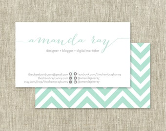 Simple business card etsy custom business card chevron print mint other colors customizable printable colourmoves
