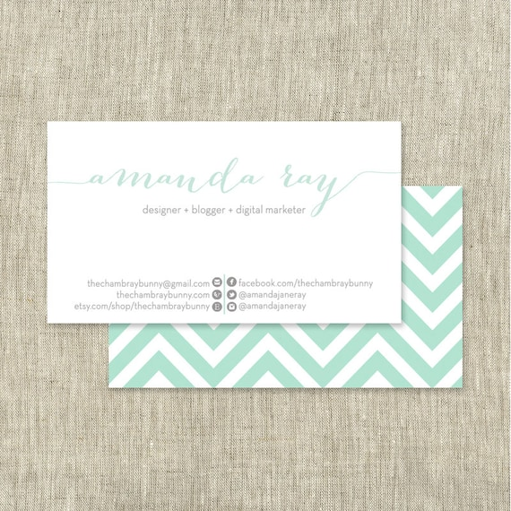 Custom business card chevron print mint other colors like this item colourmoves Gallery