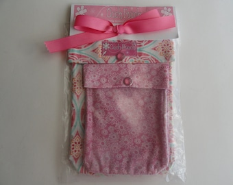 READY TO SHIP Baby Shower Gift Pink Florals Ouch Pouch 2 Clear Front Cosmetic First Aid Travel Organizer Diaper Bag Purse Beach Pool Bag