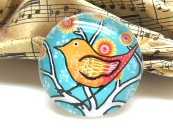 1 cabochon 25 mm glass round bird Pop Orange and sky blue - 25 mm