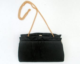 Vintage 1960s Black Satin Clutch Little Black Evening Bag Formal Handbag With Hide Away Chain Strap