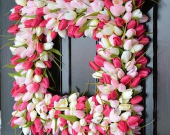 Pink Tulip Spring Wreath- Valentine's Day Square Wreath- Tulip Wreath- 20 inch shown, custom colors- The Original Tulip Wreath