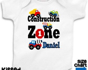 Personalized Construction Trucks T-shirt Bodysuit Boy Construction Trucks 1st 2nd 3rd 5th 6th Birthday Party Shirt