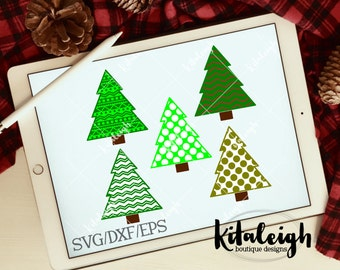 Patterned Christmas Trees INSTANT DOWNLOAD in .dxf, .svg, .eps for use with programs such as Silhouette Studio and Cricut Design Space